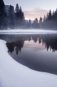 Beautiful nature photography: lake and pine forest landscape, water Winter Reflections in twilight Winter Photography, Landscape Photography, Nature Photography, Toddler Photography, Inspiring Photography, Inspiring Art, Winter Wonderland, Beautiful World, Beautiful Places