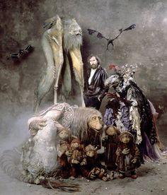 Jim Henson and his Dark Crystal creatures