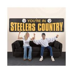 """NFL Pittsburgh Steelers """"You're In Steelers Country"""" Black 12 Foot Banner"""