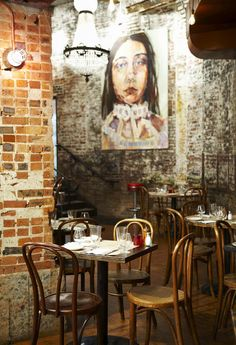The interior of the Beehive Restaurant and Bar in Boston's South End... exposed brick and beams and a lovely stage where live music plays nightly.