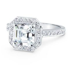 Engagement Ring - Asscher Diamond Engagement Ring Halo pave in 14K White Gold - ES874ACWG