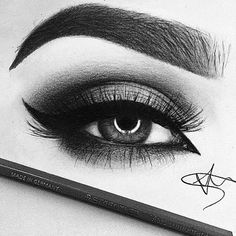 Can't believe this is an illustration Ilhaam eye look that kills for a friday night Girly Drawings, Cool Art Drawings, Pencil Art Drawings, Amazing Drawings, Art Drawings Sketches, Beautiful Drawings, Amazing Art, Realistic Eye Drawing, Eye Sketch