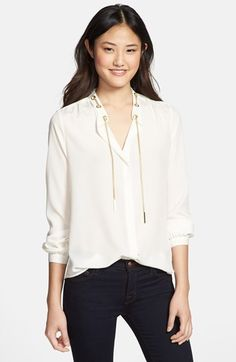 MICHAEL Michael Kors Chain Neck Blouse (Petite) available at #Nordstrom