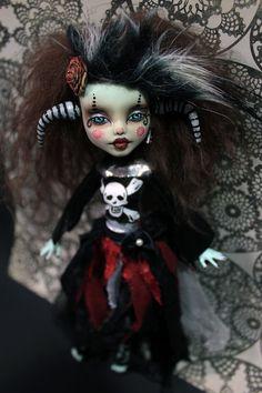 Vir GOTHUS Frankiestein Monster High Altered Art by Refabrications #horns #horned #etsy #MonsterHighDoll #ooakdoll
