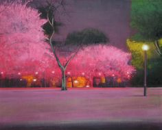 "Saatchi Online Artist Thomas Lamb; Painting, ""Blossom Trees in Spring at Night"" #art"