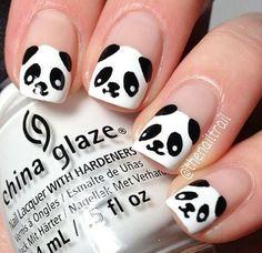 33 Animal Nail Art Prints Designs and Ideas - fashionist now Panda Nail Art, Animal Nail Art, Beautiful Nail Designs, Cute Nail Designs, Nail Swag, Black And White Nail Designs, Gel Nagel Design, China Nails, Nail Art Videos