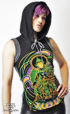 Avatar Top UV Reactive Hooded Top with Unique Details on the Shoulders and Back. Psytrance Clothing, Rave Tops, Summer Tank Tops, Love Clothing, Future Fashion, Rave Outfits, Festival Outfits, Colorful Shirts, Avatar