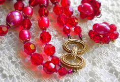Marvelous MARVELLA Vintage Red Crystals & Beads by JoolsForYou, $28.00