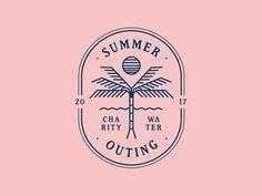 Def not on it- but some cool elements —- Summer Outing Logo Surf Logo, Beach Logo, Logos Vintage, Vintage Logo Design, Retro Logos, Vintage Branding, Logo Branding, Brand Identity, Inspiration Logo Design