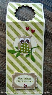 Flaschenetikett mit der Eulenstanze Wine Bottle Tags, Wine Bottle Covers, Owl Punch, Owls, Stampin Up, Paper Crafts, Board, Paper Mill, Cards