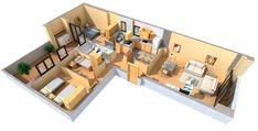 Planos casas forma L 90 metros