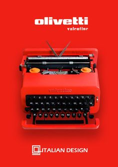 "Olivetti Red Valentine - Vintage Working Typewriter: ""Olivetti launched a fiery red portable typewriter which quickly became so iconic that it was already part of MoMA's permanent collection by 1971. The Olivetti Valentine portable typewriter was designed by industrial designer Perry King in collaboration with Ettore Sottsass and was in released in 1969 along with a groovy advertisement campaign."""