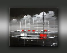 Peinture d' Eric Bruni - chezmamielucette Sailboat Painting, Red Umbrella, Geometric Art, House Painting, Landscape Art, Painting Inspiration, Abstract Art, Art Pieces, Scenery