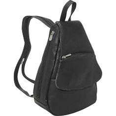 #Handbags, #LeatherHandbags, #Piel - Piel Flap-Over Sling - Black