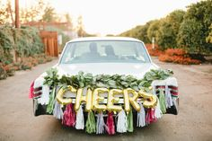 CHEERS letter balloons - gold foil mylar letters - balloon banner only