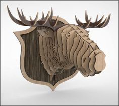 Trophy of a moose head 3D puzzle CNC by DecorHomeandGarden on Etsy