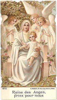Blessed Mother with the Child Jesus always surrounded by angels