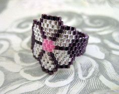 Items similar to Peyote Ring / Seed Bead Ring / Beaded Ring / Flower Ring / Floral Ring / Custom Ring / Delica Ring- Size 13 on Etsy Seed Bead Art, Seed Bead Jewelry, Bead Jewellery, Seed Beads, Beadwork Designs, Beaded Jewelry Designs, Beaded Bracelet Patterns, Bead Loom Patterns, Beaded Rings