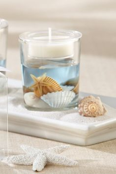 Ocean Seashell Gel Tea Light Candle Holder Favor                              …