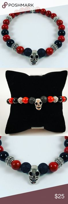 Men lava rock ,onyx, jasper beaded skull bracelet Men beaded bracelet. Fits most , 7.5 to 8.5 inch  wrist. Handmade by me , never worn by anyone. Made with lava rock / volcano beads , onyx and natural brown red jasper beads. Tibetan silver skull and deco charms.I ship fast!!✈️ Bundle and save! ( 10 % off bundles) Any questions let me know! No transactions outside Poshmark!! Accessories Jewelry