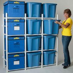Compact 12 Tote Storage Box Organizer by Albern Enterprises, Llc, White Bin Organizers Storage Bin Shelves, Garage Storage Bins, Tote Storage, Garage Organization, Diy Storage, Locker Storage, Organizing Ideas, Storage Ideas, Shelving Units