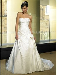 Robe de mariée avec traîne en Satin sans bretelle