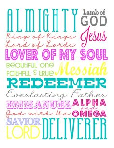 Easter Subway Art, Free Printables, Names of Jesus