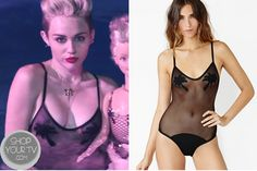 afa88b8a363d8f Miley Cyrus wears this Black Palm Tree Mesh One piece Swimsuit