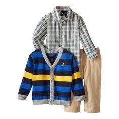 Nautica Baby Boys Navy and Yellow Knit Cardigan 3 Piece Set