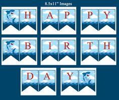 Shark Happy Birthday Banner Printable Instant Download