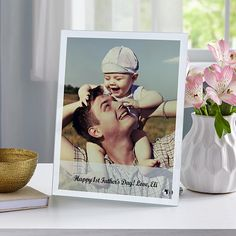 Family Photo Glass Message Frame, Picture perfect with dad.