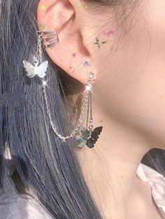 Mode Emo, Mode Hipster, Chain Earrings, Cute Earrings, Crystal Earrings, 14k Earrings, Ear Jewelry, Cute Jewelry, Jewelery