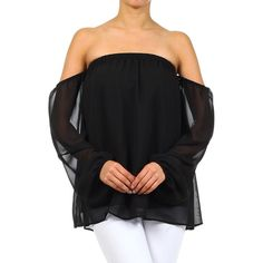 J-Mode USA Los Angeles Black Off-Shoulder Blouse ($15) ❤ liked on Polyvore featuring tops, blouses, long off the shoulder tops, off the shoulder tops, off shoulder blouse, off shoulder tops and stretchy tops