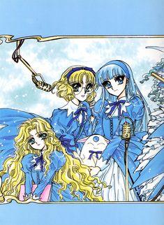 Tags: CLAMP, Magic Knight Rayearth, Ryuuzaki Umi, Hououji Fuu, Emeraude (CLAMP), Mokona Modoki, Bangs, Official Art Plus