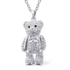 Liquidation Channel - Affordable Creature Couture - Teddy Bear Pendant with Black and White Austrian Crystal With Chain (24 in) in Stainless Steel