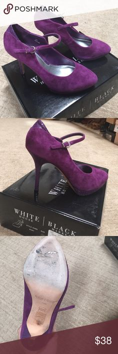 """WHBM shoes Merlot suede Mary Janes. 3 1/2@ with 1/2"""" platform. Like new!! In box with dust days. White House Black Market Shoes Heels"""