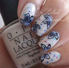 More one stroke flower nails - Polish Infatuated