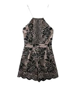 7cdd3f4e8188 Abetteric Women s Lace Cut Out Back Halter Overall Shirt Jumpsuits Dress  Black XS