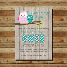 Owl Baby Shower Boy Invitation (digital file)