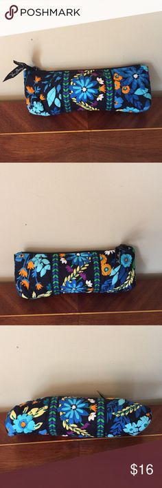 "Vera Bradley Cosmetic Bag  Midnight Blues NWOT Vera Bradley Rare Brush and Pencil Case NWOT   in Midnight Blues Retired Pattern  Measures:  9"" X 3"" X 2"" Triangular Sillouette Perfect for  make-up, brush, comb, and your needs Taffeta lined for easy cleaning. Vera Bradley Bags Cosmetic Bags & Cases"