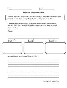 Identifying and Evidence Theme Worksheet | Englishlinx.com Board ...