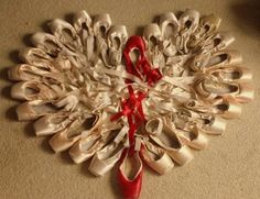 pointe shoes in the shape of a heart