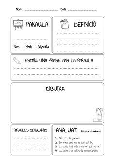 Nom: _____________________   Data: __________________       PARAULA                            DEFINICIÓNom   Verb    Adje...