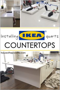 Everything you want to know about purchasing and installing countertops from IKEA.houseofhepwor… Installing IKEA quartz countertops – Frosty Carrina – House of Hepworths Source by primroseruby Ikea Quartz Countertop, Ikea Kitchen Countertops, Inexpensive Kitchen Countertops, Types Of Countertops, How To Install Countertops, Kitchen Cabinets, Rustic Kitchen, Diy Kitchen, Kitchen Decor