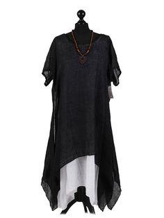 New Ladies Italian Linen Dress Women Short Sleeve Top
