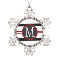 Elegant Red White & Black Lines With Monogram Snowflake Pewter Christmas Ornament - classy gifts custom diy personalize