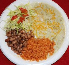 Green enchilada plate at Roberto's Mexican Food Restaurant in Las Cruces, NM
