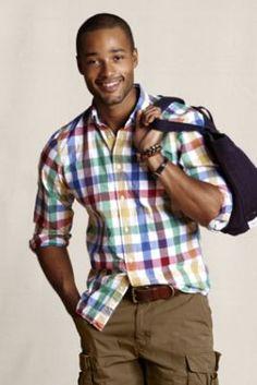 Men's Multi-Check Poplin Shirt  from Lands' End Canvas