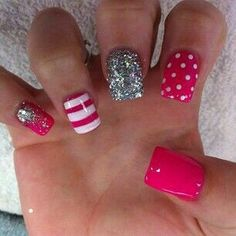 Beautiful pink glittery nails