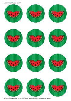 Adesivos para pão de mel Watermelon Decor, Watermelon Designs, Watermelon Birthday, Angel Drawing, Cute Easy Drawings, Cake Logo, One In A Melon, Printable Paper, Birthday Decorations